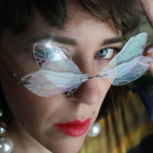 Y2K CLEAR BUTTERFLY INSECT WING RIMLESS GLASSES